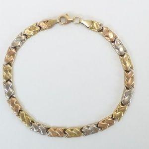 "Jewelry - 14k Yellow Gold Chevron Multi Tone Bracelet 7.5"""
